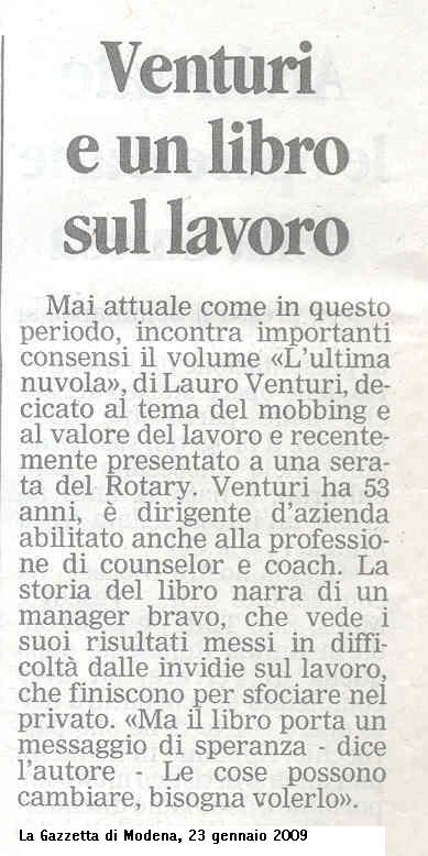 La Gazzetta di Modena – 23 gennaio 2009
