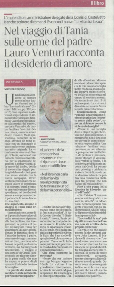 LAURO VENTURI RACCONTA IL DESIDERIO DI AMORE, Gazzetta di Modena, 8 dicembre 2020